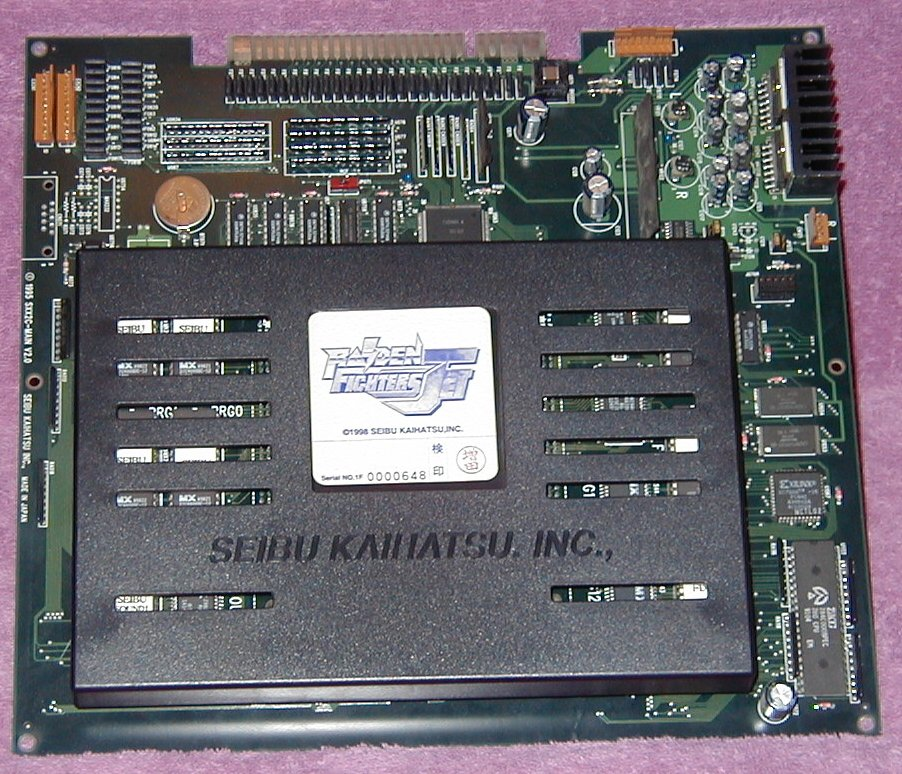 Seibu SPI system PCB w/ Raiden Fighters Jet daughterboard attached (click for full-size image)